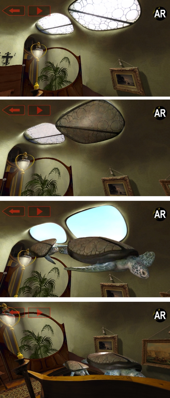AR turtles generated from windows of Casa Batlló