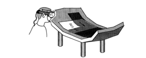 Caudell and Mizell's augmented reality headset in practice (Caudell and Mizell, 1992)
