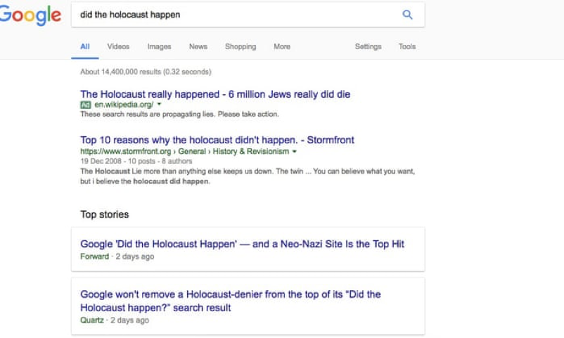 Google search results on holocaust