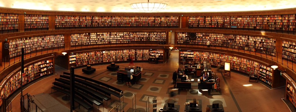 Round library with masses of books