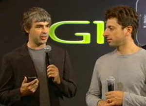 Photo depicting the owners of Google - Larry Page and Sergey Brin.