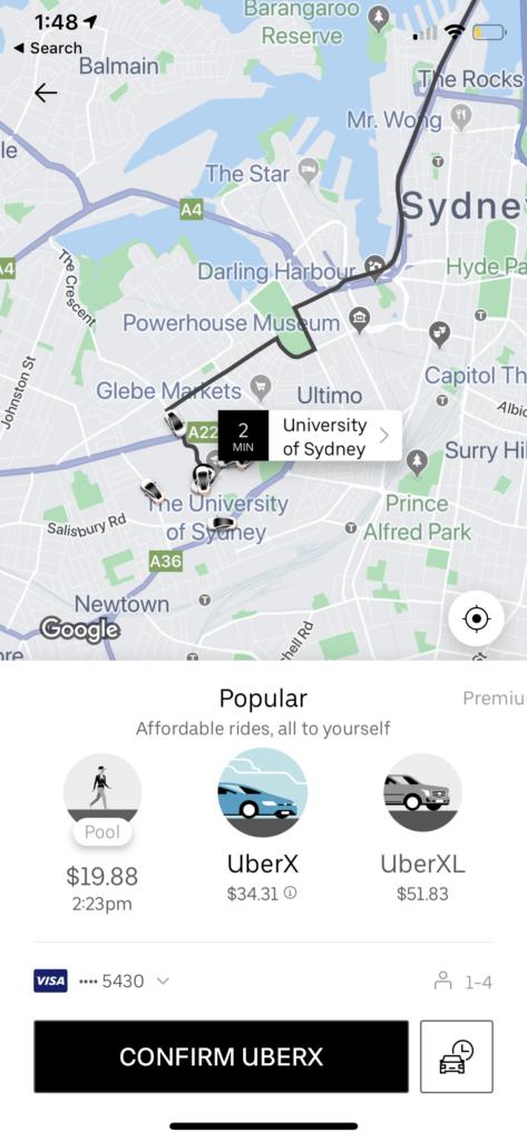 Screenshot of Uber's Interface