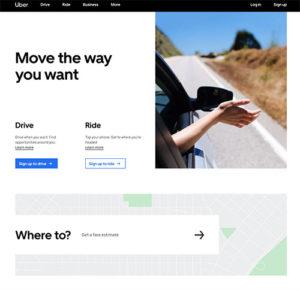 A screenshot of Uber Website