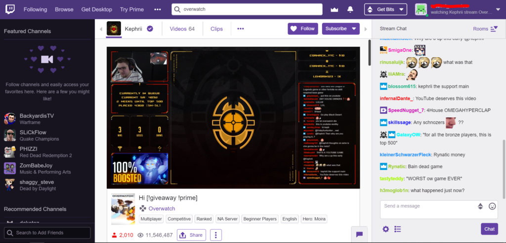 Figure 1: Example of a standard Twitch stream layout and included elements.